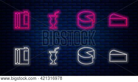 Set Line Milkshake, Cheese, Paper Package For Kefir And . Glowing Neon Icon On Brick Wall. Vector