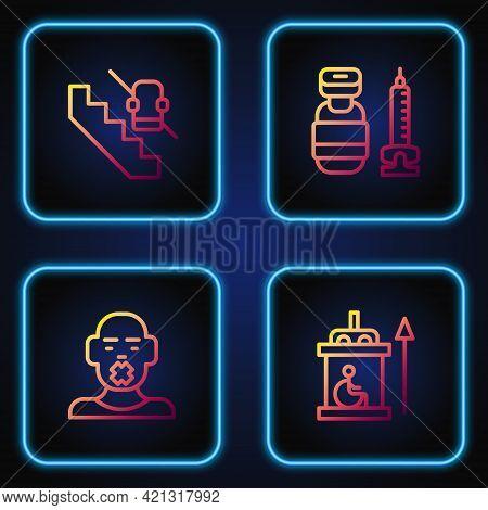 Set Line Elevator For Disabled, Head Of Deaf And Dumb, Disabled Elevator And Syringe. Gradient Color