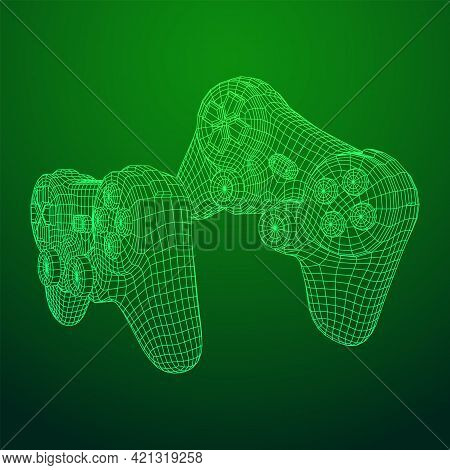 Game Controller Or Gamepad For Videogames. Wireframe Low Poly Mesh
