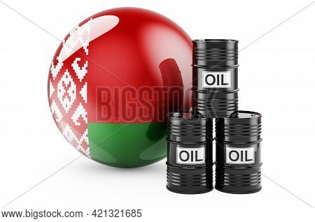 Oil Barrels With Belarusian Flag. Oil Production Or Trade In Belarus Concept, 3d Rendering Isolated