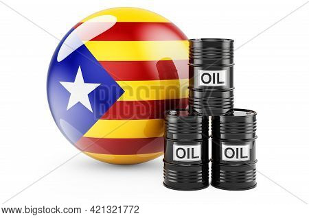 Oil Barrels With Catalan Flag. Oil Production Or Trade In Catalonia Concept, 3d Rendering Isolated O