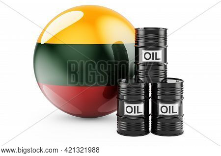 Oil Barrels With Lithuanian Flag. Oil Production Or Trade In Lithuania Concept, 3d Rendering Isolate