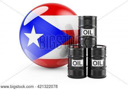 Oil Barrels With Puerto Rican Flag. Oil Production Or Trade In Puerto Rico Concept, 3d Rendering Iso