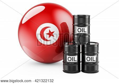 Oil Barrels With Tunisian Flag. Oil Production Or Trade In Tunisia Concept, 3d Rendering Isolated On