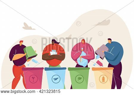 Cartoon People Sorting Garbage Together. Flat Vector Illustration. Four Men And Women Standing Near