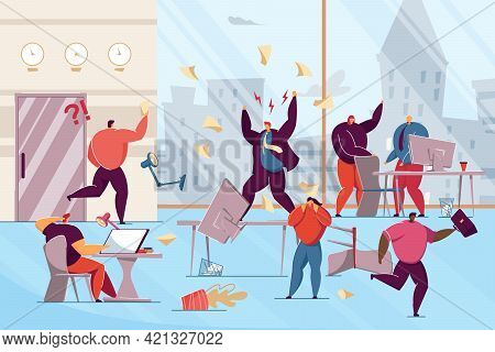 Furious Boss Swearing At Office Workers. Flat Vector Illustration. Office Chaos, Panic, Shocked Work