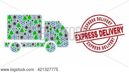 Winter Covid-2019 Composition Lorry, And Rubber Express Delivery Red Round Stamp Imitation. Mosaic L