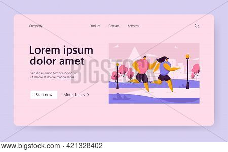 Happy Cartoon Couple Doing Jogging Together In Summer City Park. Flat Vector Illustration. Athlete P