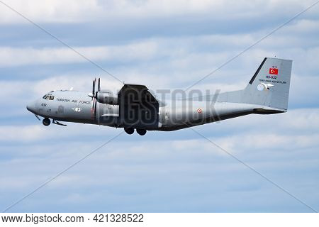 Radom, Poland - August 26, 2013: Military Transport Plane At Air Base. Air Force Flight Operation. A
