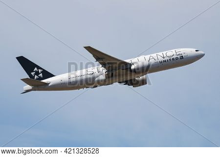 Frankfurt, Germany - July 9, 2018: United Airlines Passenger Plane At Airport. Schedule Flight Trave