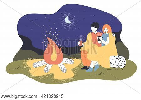 Cartoon Loving Couple Sitting By Fire At Night. Flat Vector Illustration. Man And Woman Hugging, Sit