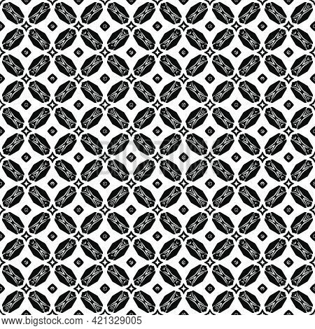 Black And White Pattern Texture. Bw Ornamental Graphic Design. Mosaic Ornaments. Pattern Template. V