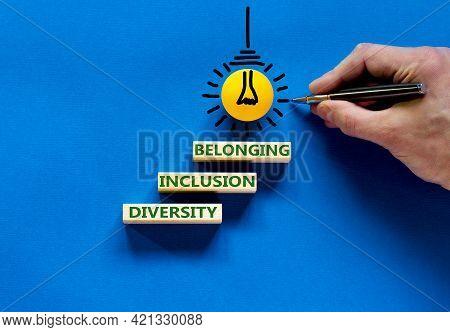 Diversity, Inclusion And Belonging Symbol. Wooden Blocks With Words 'diversity, Inclusion, Belonging