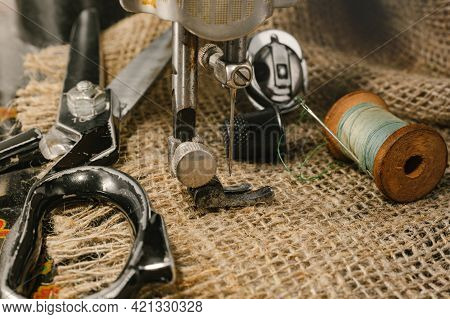 Sewing Machine. Needle And Thread. Thimble. Scissors. Sewing Tools For Fashion Designers, Designers,