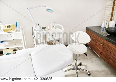 Contemporary Cosmetology Cabinet With Professional Equipment In The Dermatology And Cosmetology Spa