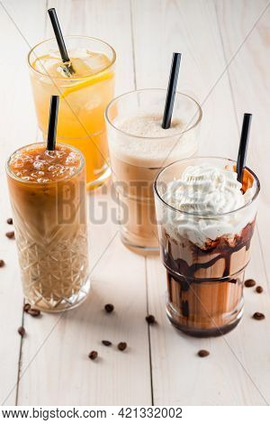 Set With Different Iced Summer Coffee Drinks - Espresso, Frappe, Latte, Cappuccino, With Whipped Cre