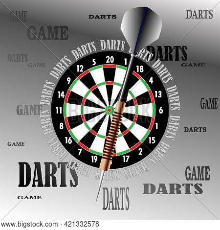 Illustration Of A Dart And Dart Board On A Gray Background For Advertising Posters, Postcards, Cloth
