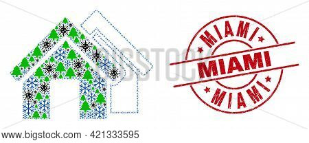 Winter Pandemic Collage Houses, And Textured Miami Red Round Watermark. Mosaic Houses Is Designed Wi