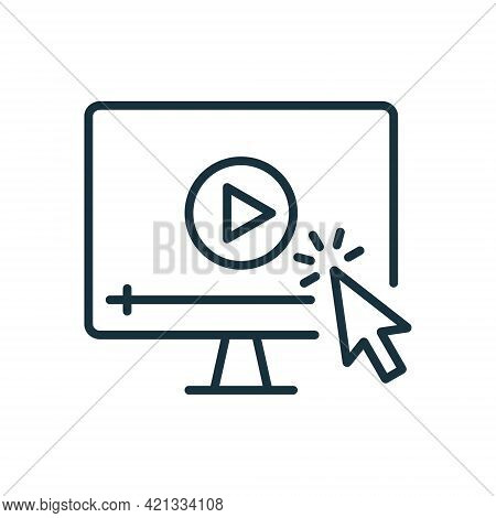 Video Tutorials Line Icon. Video Player With Mouse Pointer Linear Icon. E-learning And Online Educat