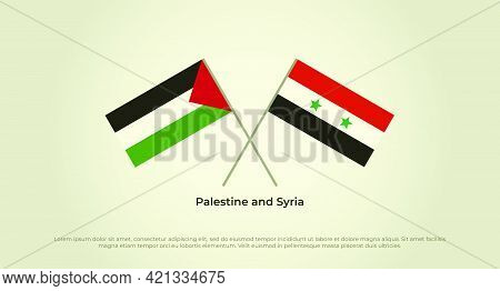 Crossed Flags Of Palestine And Syria. Official Colors. Correct Proportion