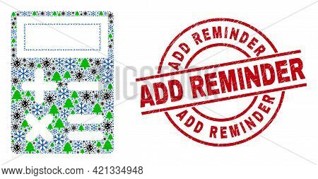 Winter Covid Collage Calculator, And Add Reminder Red Round Stamp Seal. Collage Calculator Is Formed