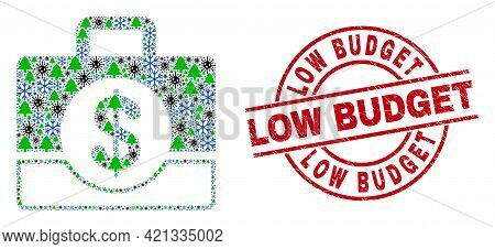 Winter Coronavirus Combination Business Case, And Distress Low Budget Red Round Stamp. Collage Busin