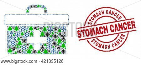 Winter Covid Collage Medical Case, And Grunge Stomach Cancer Red Round Stamp. Collage Medical Case I