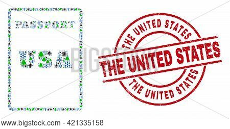 Winter Viral Collage Usa Passport, And Grunge The United States Red Round Stamp Seal. Mosaic Usa Pas