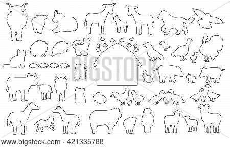 Big Set Of Doodle Silhouette Cartoon Farm Animals Icons. Vector Collection Of Donkey Goose Cow Bull