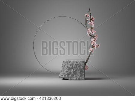 3d Background, Gray Rock Podium, Stone Display. Sakura Pink Flower Branch, Cherry Blossom And Circle