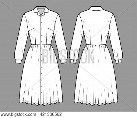 Dress Shirt Technical Fashion Illustration With Long Sleeves, Camp Collar, Fitted Body, Knee Length