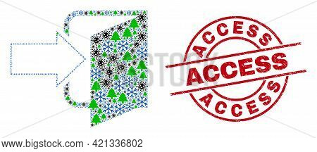 Winter Viral Mosaic Exit Door, And Unclean Access Red Round Watermark. Collage Exit Door Is Created