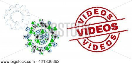 Winter Pandemic Composition Gears Rotation, And Scratched Videos Red Round Stamp Seal. Collage Gears