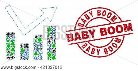 Winter Viral Collage Trend Chart, And Distress Baby Boom Red Round Stamp Print. Mosaic Trend Chart I