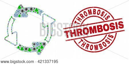 Winter Covid-2019 Composition Circulation Arrows, And Unclean Thrombosis Red Round Stamp Seal. Colla
