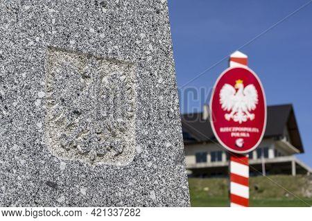 The Obelisk And A Polish Crest On The Trojmezi Point, The Border Between Czech Republic, Slovakia An