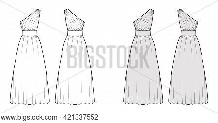 Dress One Shoulder Technical Fashion Illustration With Fitted Body, Floor Maxi Length Circular Skirt