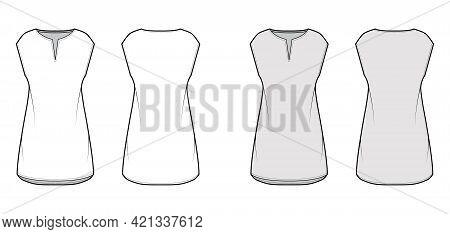 Dress Tunic Technical Fashion Illustration With Sleeveless, Oversized Body, Mini Length Skirt, Slash