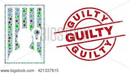 Winter Covid-2019 Mosaic Jailed Person, And Guilty Red Round Stamp Imitation. Collage Jailed Person