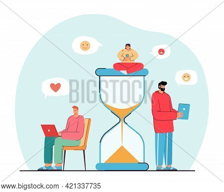 Tiny People Spending Their Time In Internet. Flat Vector Illustration. Cartoon Users Checking Online