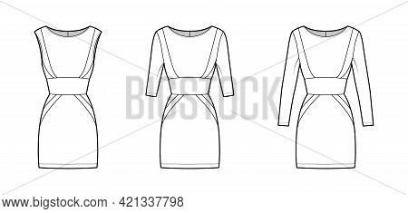 Set Of Dresses Panel Tube Technical Fashion Illustration With Hourglass Silhouette, Long Elbow Sleev