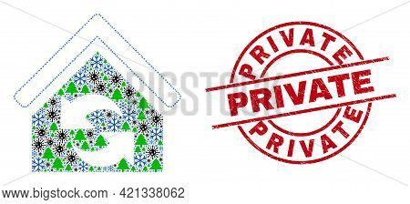 Winter Pandemic Combination Refresh House, And Textured Private Red Round Stamp Seal. Collage Refres