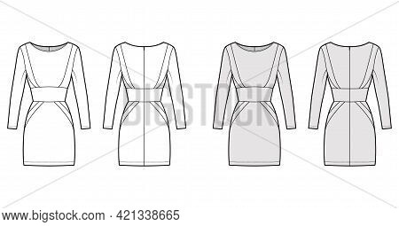 Dress Panel Tube Technical Fashion Illustration With Hourglass Silhouette, Long Sleeves, Fitted Body