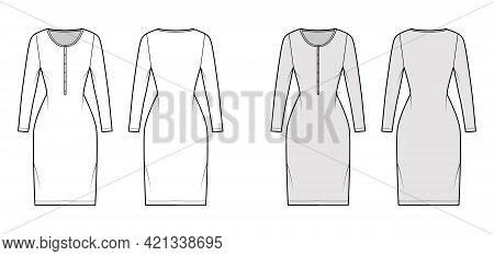 Dress Henley Collar Technical Fashion Illustration With Long Sleeves, Fitted Body, Knee Length Penci