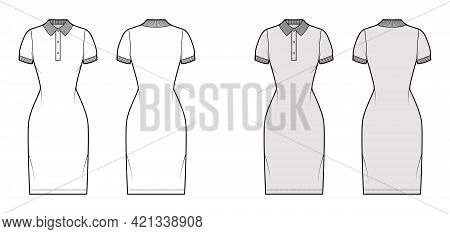 Dress Polo Fashion Illustration With Short Sleeves, Fitted Body, Knee Length Pencil Skirt, Henley Ne