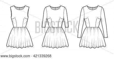 Set Of Dresses Mini Technical Fashion Illustration With Long Medium Short Sleeve, Fitted Body, Midi
