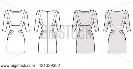 Dress Panel Tube Technical Fashion Illustration With Hourglass Silhouette, Elbow Sleeves, Fitted Bod