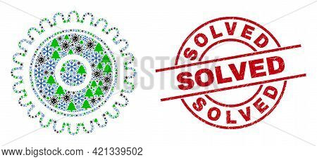 Winter Coronavirus Mosaic Cog, And Grunge Solved Red Round Stamp Seal. Mosaic Cog Is Done With Coron