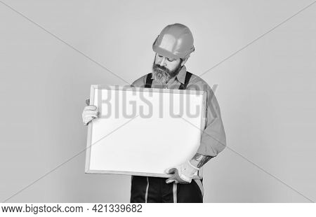 Bearded Man Repairman Builder. Plan Repair Works. Visual Outline. Architect Showing Project. Profess
