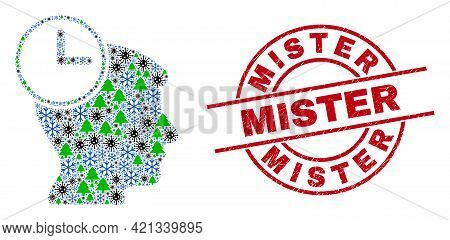 Winter Coronavirus Collage Head Clock, And Scratched Mister Red Round Seal. Collage Head Clock Is Ma